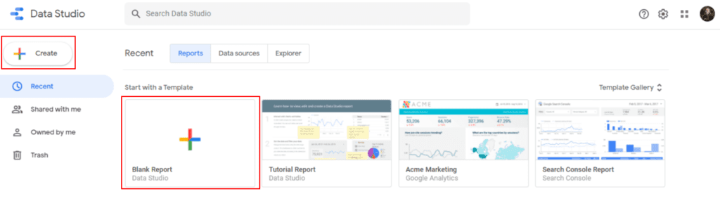 Create your first report on Google Data Studio clicking on Blank Report