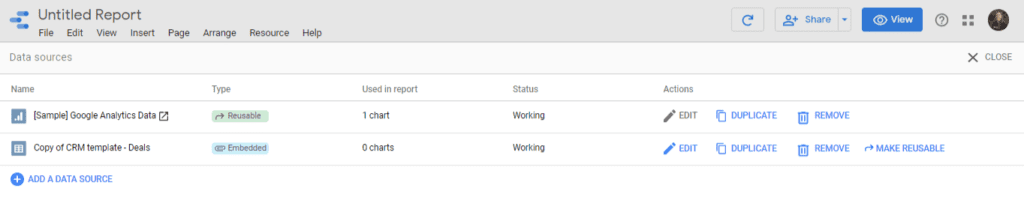 Data Sources added on your Report at Google Data Studio