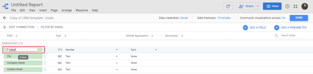 Change the field names in your data source on Google Data Studio