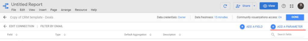 Add a parameter in your data source on Google Data Studio