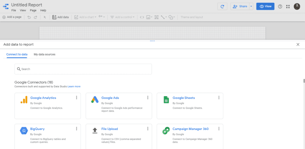 Connect your first data source with Google Data Studio on your blank report.