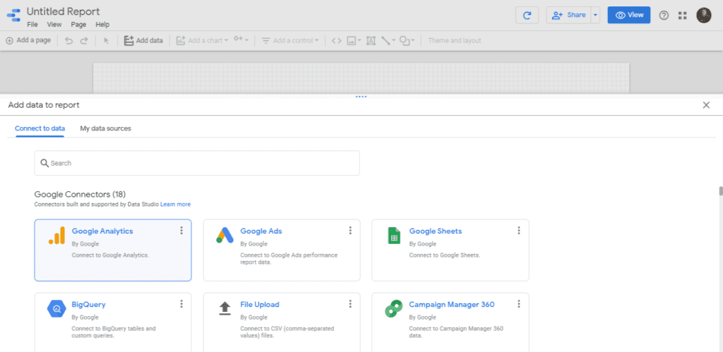 Connect Google Analytics with Google Data Studio on your blank report.