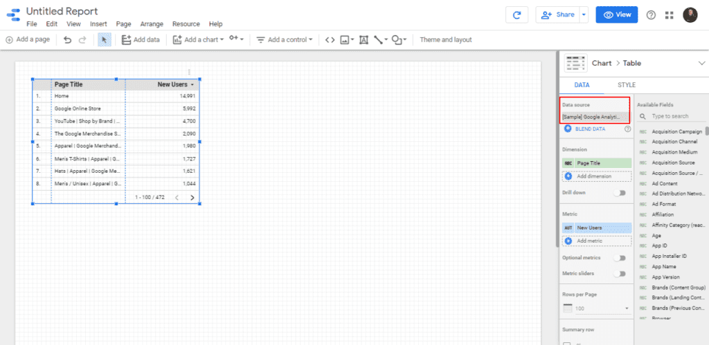 Check the Data source Added on your Google Data Studio Report