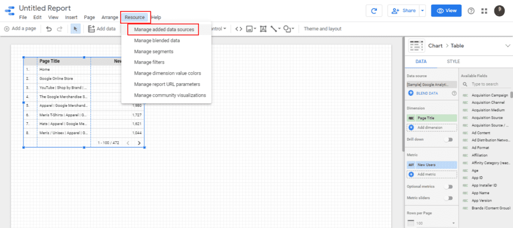 Manage your data sources on your Google Data Studio report