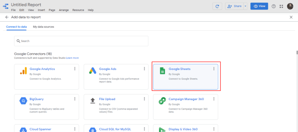 Add a Google Sheet as a data source on your current report at Google Data Studio