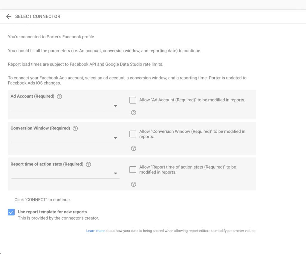 Facebook Ads connector configuration on Google Data Studio