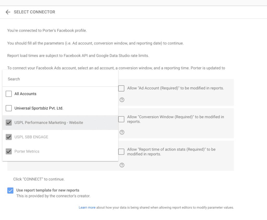 Choose multiple Facebook Ads accounts on Data Studio